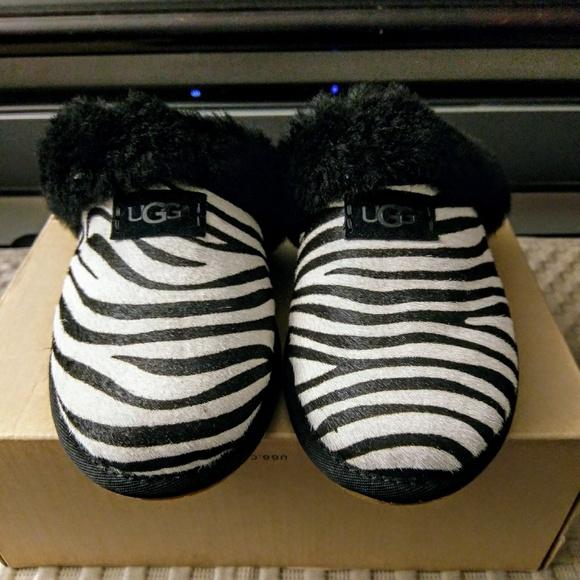 6b4003ff5cf UGG Scuffette II Exotic Zebra Calf Hair Slippers.